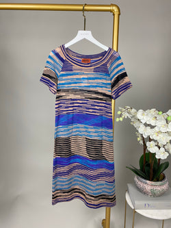 Missoni Blue and Beige Wool Round Neck Dress Size 38