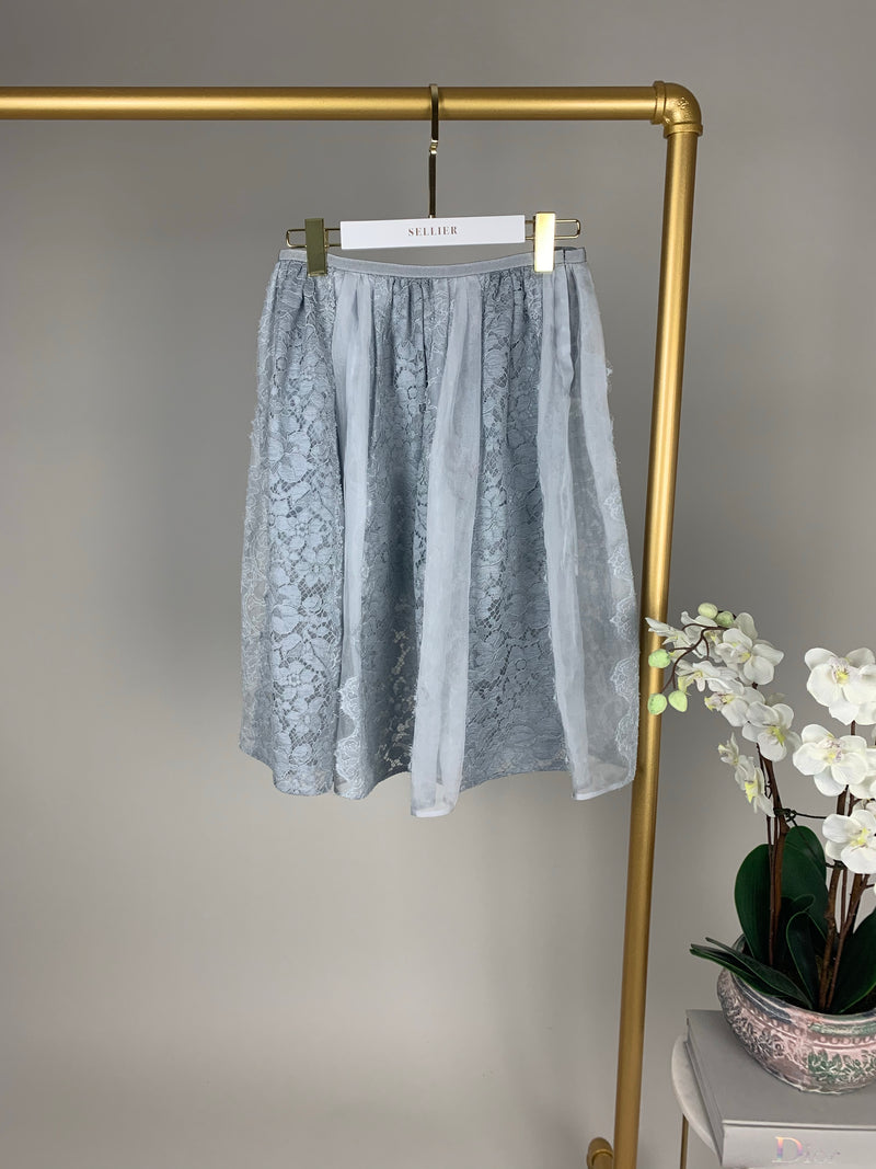 Prada Pale Blue Lace A-Line Skirt Size 40 (UK8)