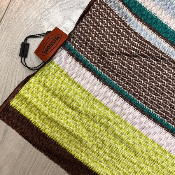 Missoni Multicolour Stripe Scarf in Light Pastels and Burgundy