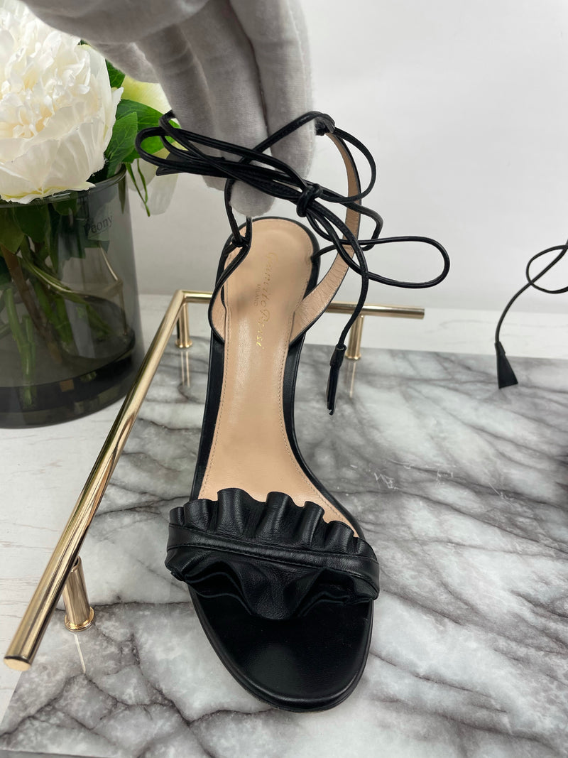 Gianvito Rossi Black Leather Frill Lace-Up Heels Size 41