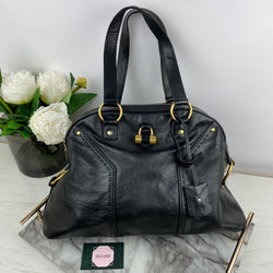 Yves Saint Laurent YSL Black Handbag with Gold Hardware
