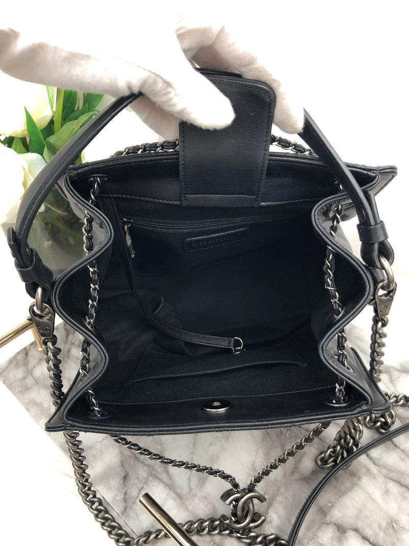 Chanel Black Caviar Accordian Handbag