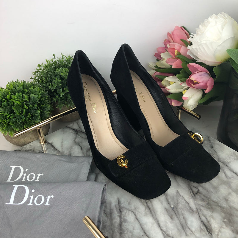 Christian Dior Black Suede Block Heels Size 39.5