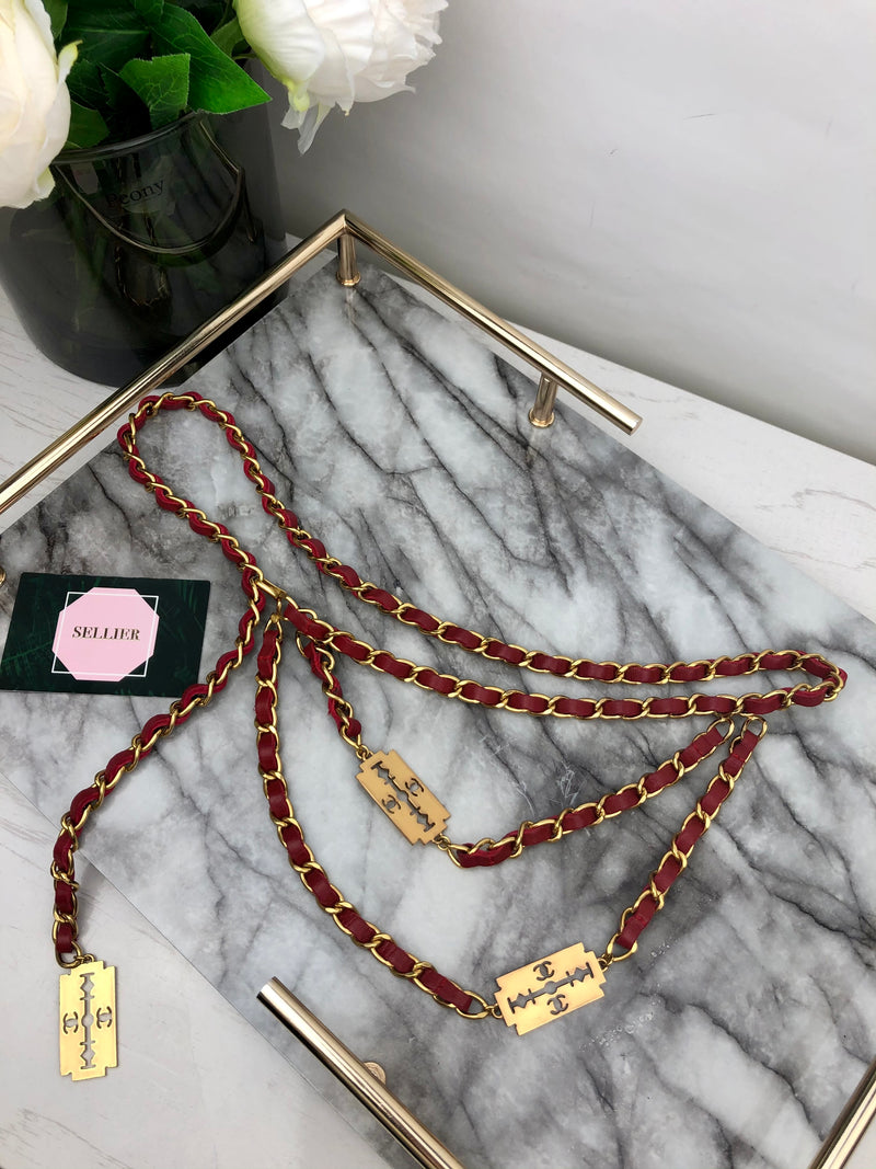 Chanel Red and Gold Enchained Belt