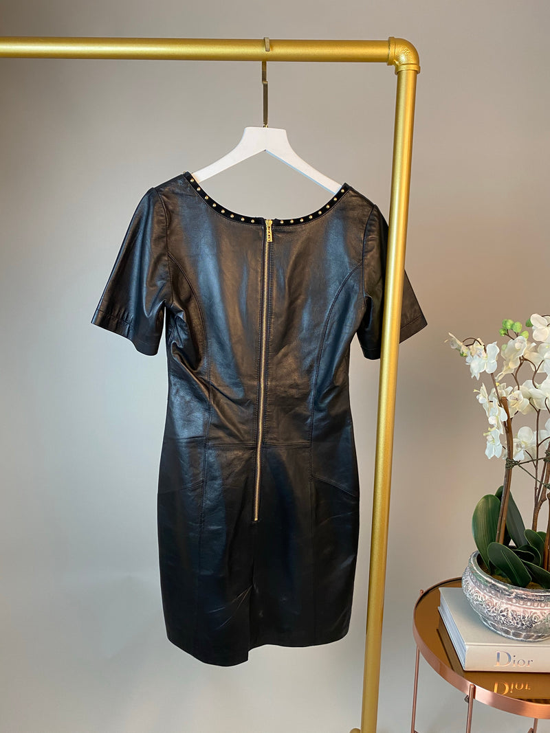 Alice Black Leather Studded Dress Size 6UK