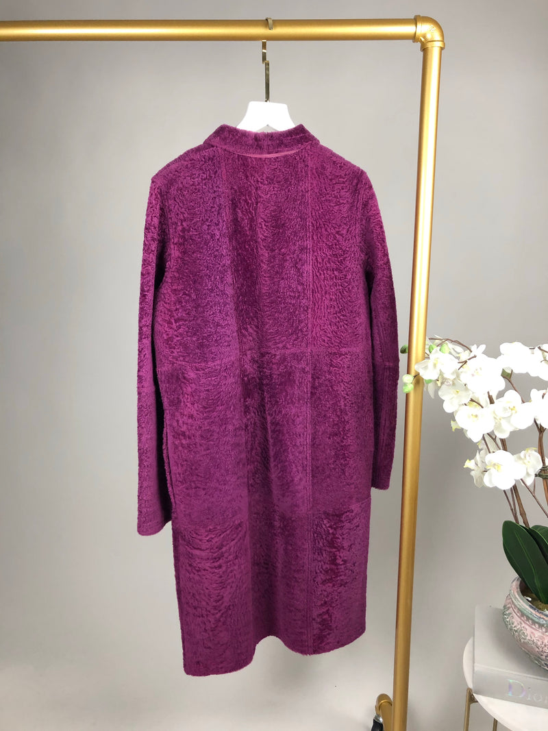 Marni Purple Sheepskin and Leather Coat Size 42 (UK10)