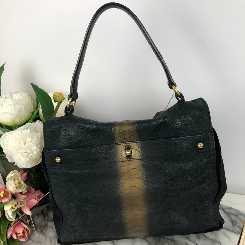 Yves Saint Laurent YSL Black and Gold Fade Handbag