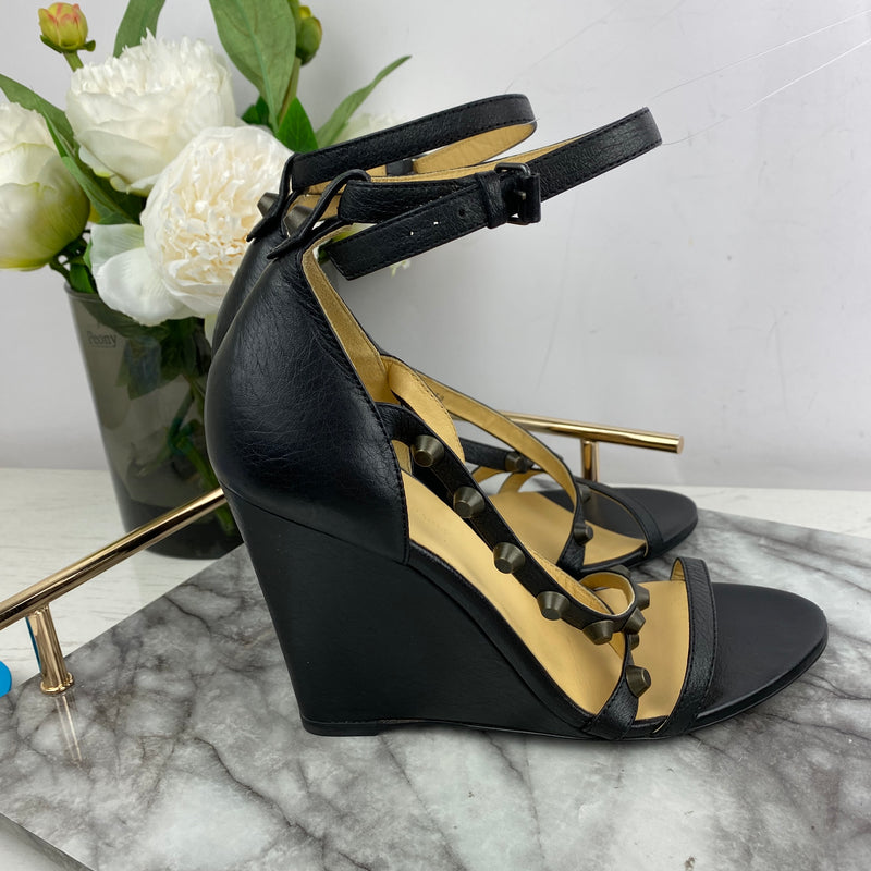 Balenciaga Black Studded Wedge Heels Size 39
