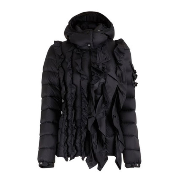 Moncler Black Puffer Coat with Frill Detail on the Front