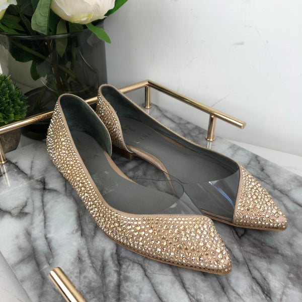 Gina Crystal & Perspex Pumps in Champagne Size 37.5