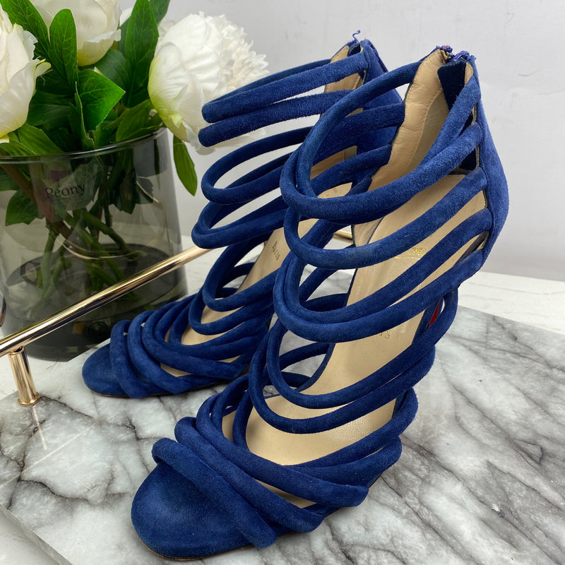Christian Louboutin Blue Suede Multi Strap Heels Size 40.5