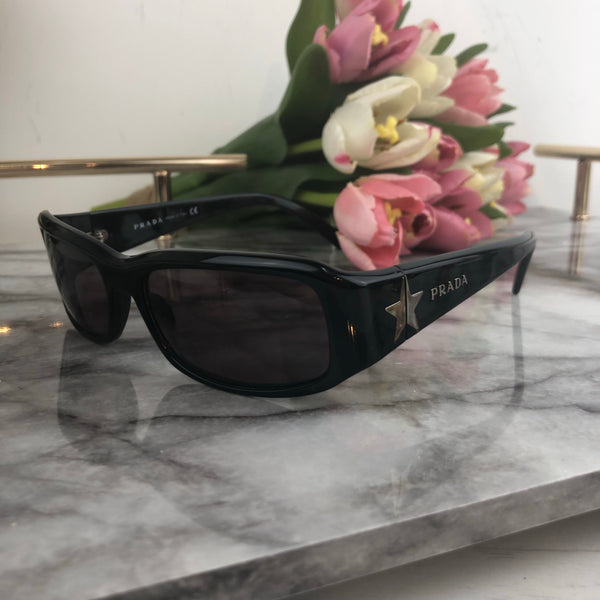 Prada Black Frame Sunglasses with Dark Pink Tone Lens