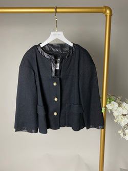 Chanel Black Wool and Leather Trim Pearl Jacket Size 38 (UK10)