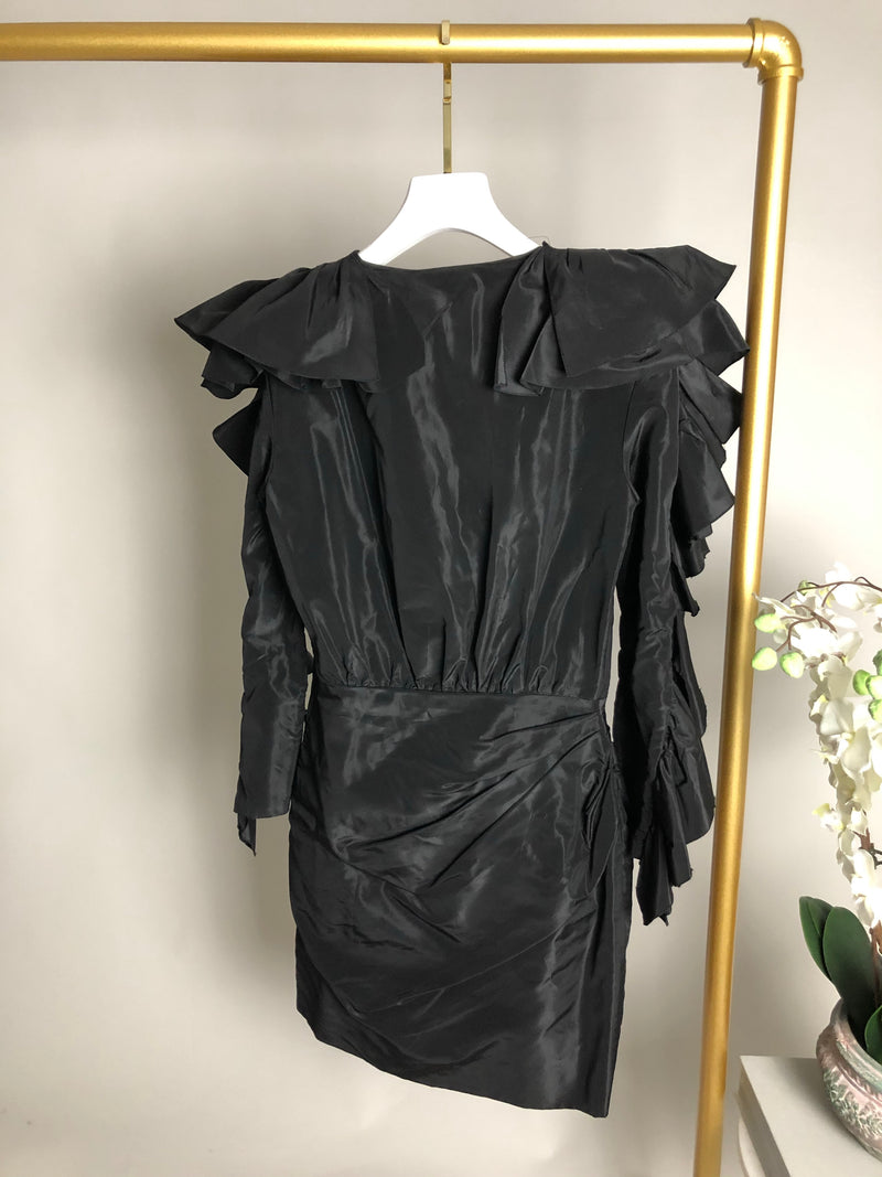Carmen March Black Frill Sleeve Dress Size 36 (UK8)