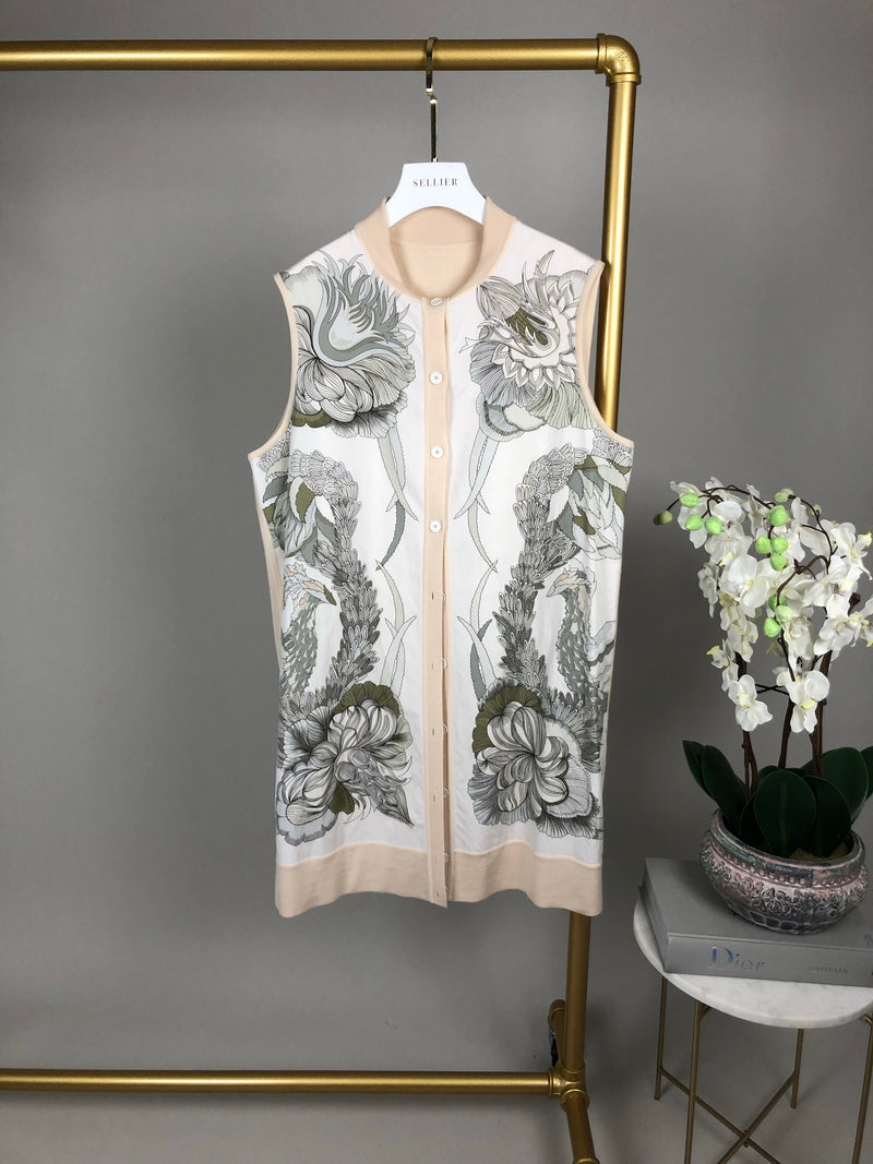 Hermes Cream Cardigan with Contrast Inserts Size 44 (UK12)