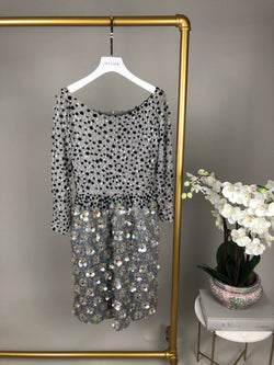 Bill Blass Grey Holographic Sequin Beaded Dress Size 10UK