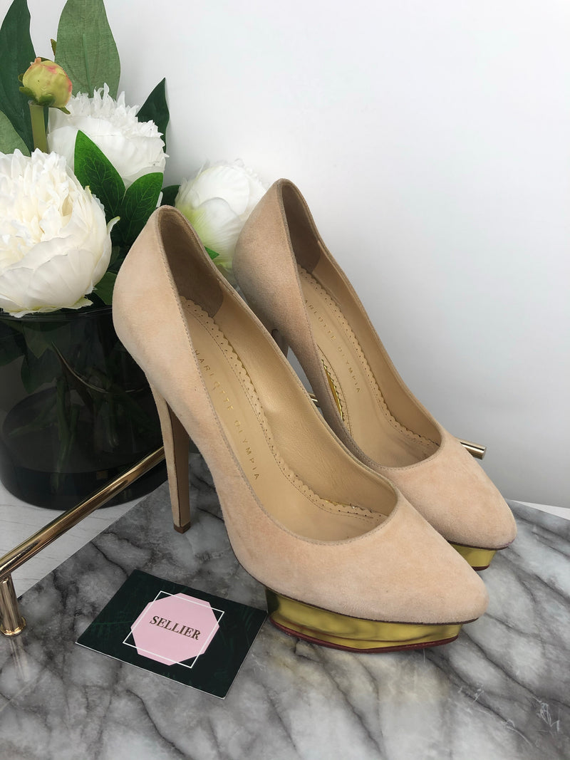 Charlotte Olympia Dusty Pink Suede Heels Size 38