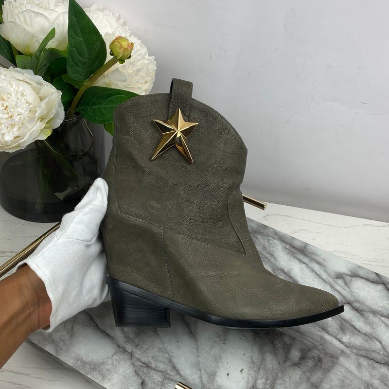 Giuseppe Zanotti Brown Wedge Cowboy Boots with Gold Star Size 41