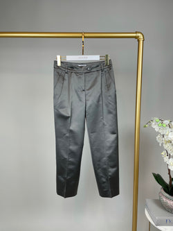 Moschino Silver Satin Trousers Size 34 (UK6)