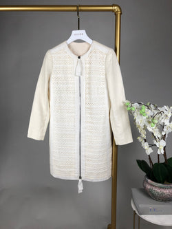 Phillip Lim Cream Embroidered Linen Dress Coat Size 0 (UK8-10)