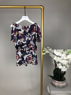 Chanel Purple Silk Top with Buttoned Shoulders Size 36 (UK8)