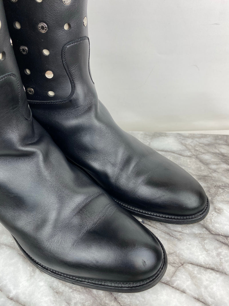 Hermes Neo Jumping Boots with Perforation and Silver Studs Size 40