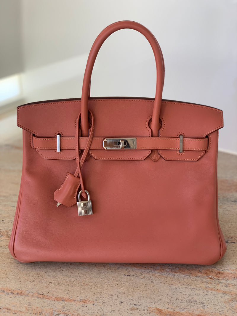 Hermes Birkin 30 Bag in Rosy Swift Leather with PHW