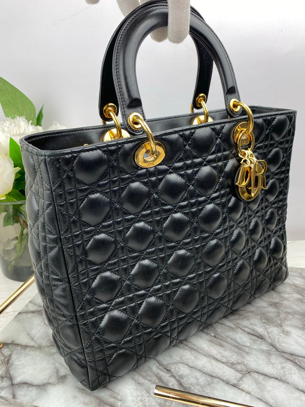 Christian Dior Large Lady Dior Black Cannage lambskin with Gold Hardware