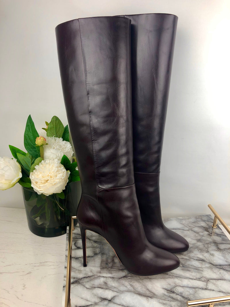 Aquazurra Prune Brown Leather Heel Boots Size 40