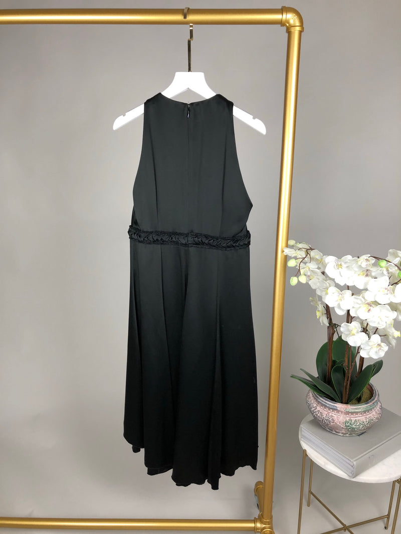 Andrew GN Black Pleated Black V-Neck Dress Size 38