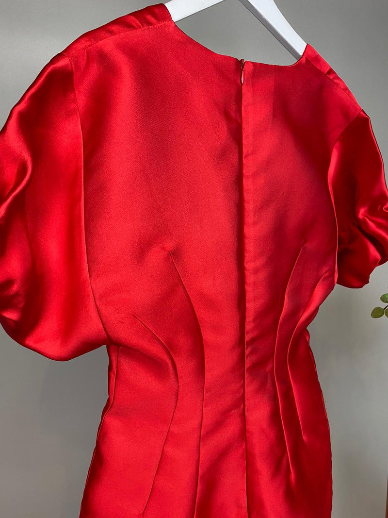 Alessandra Rich Red Satin Dress Size 42 (UK10)