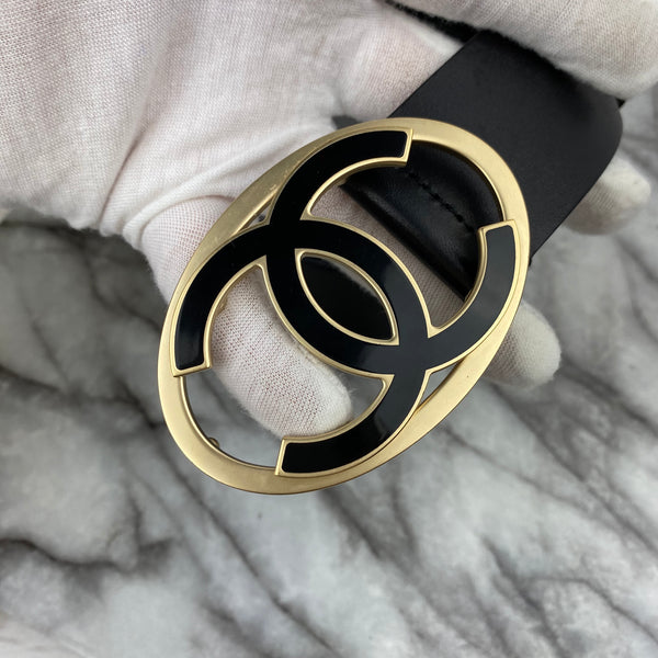 Chanel Black Leather Belt with Black and Gold CC Logo