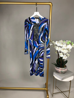 Emilio Pucci Blue Embellished Neckline Dress Size 8UK