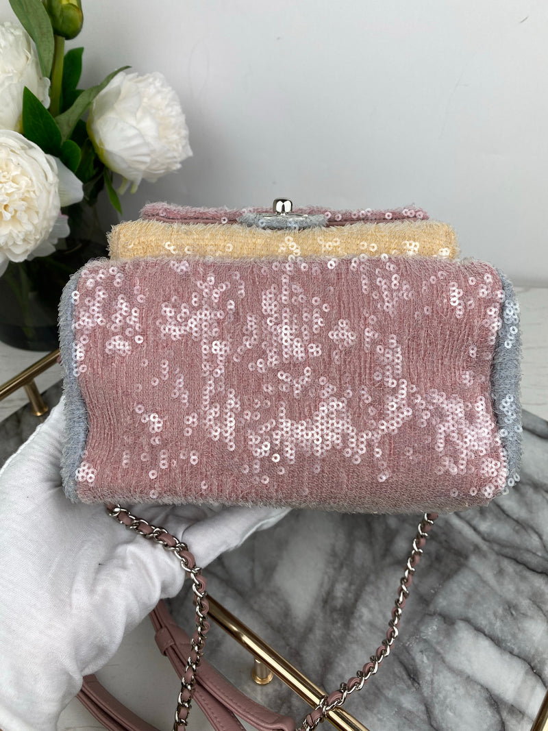 Chanel Pink, Blue Peach Sequin Waterfall Backpack