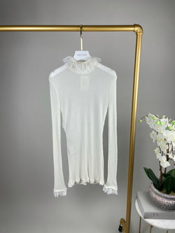 Philosophy White Turtle Neck with Lace Detailing Size 38