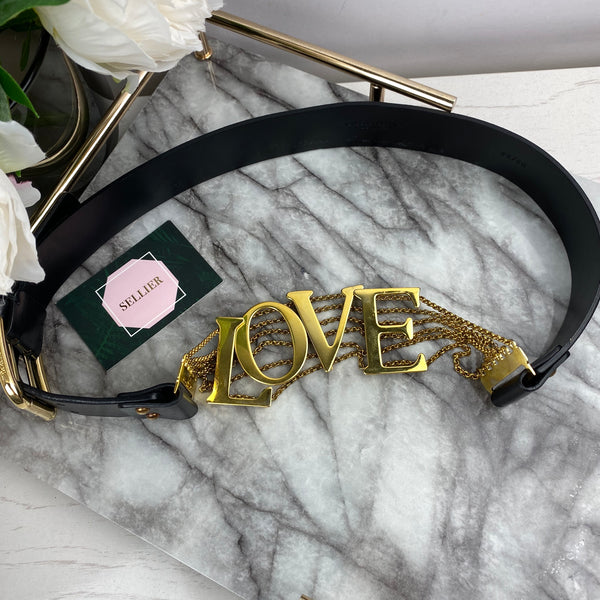 Dolce & Gabbana Black Leather and Gold LOVE Belt
