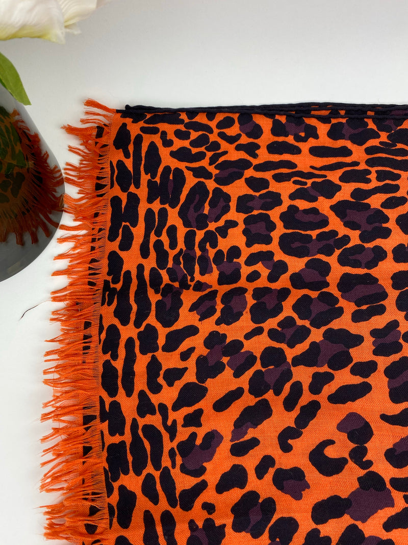 Hermes Leopard Scarves Sold Separately (Orange)