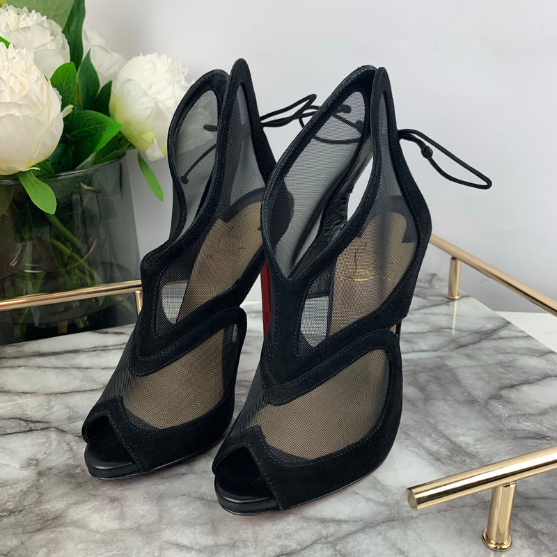 Christian Louboutin Black Mesh & Suede Heels Size 36.5