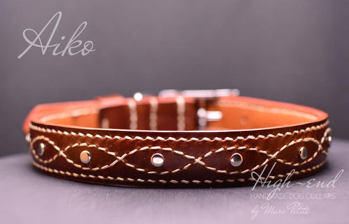 high end dog collar made of vegetal tanned leather