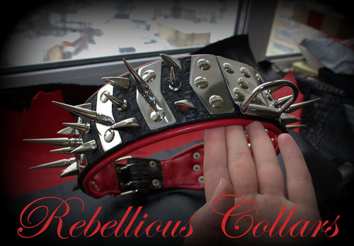 Brutal Rebellious Dog Collar with extra large Spikes