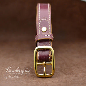 Custom made Burgundy  Leather Belt with Brass Buckle and Leather Stud