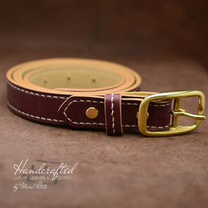 Made-to-order Burgundy  Leather Belt with Brass Buckle and Leather Stud