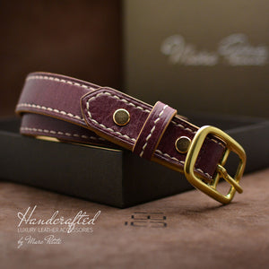 Awesome Burgundy  Leather Belt with Brass Buckle and Leather Stud