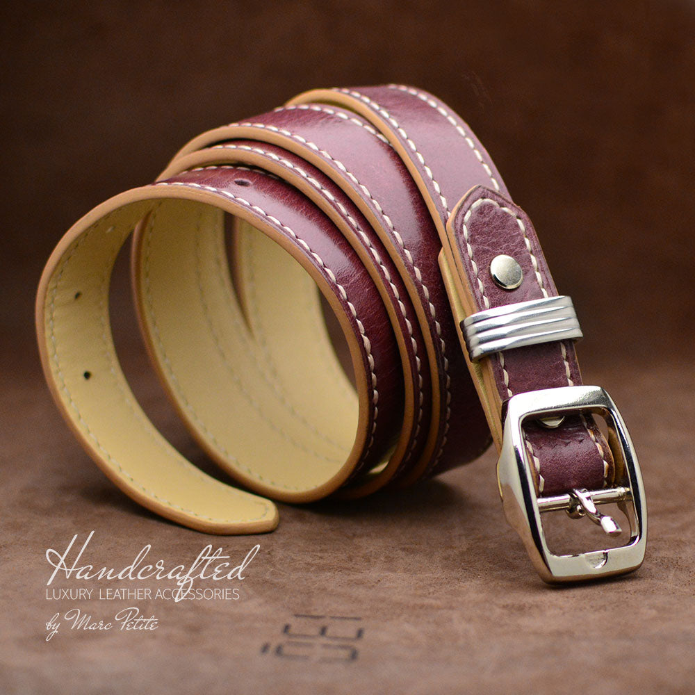 Burgundy  Leather Belt with Stainless Steel Stud
