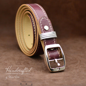 Handmade Burgundy  Leather Belt with Stainless Steel Stud
