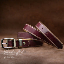 Load image into Gallery viewer, Handcrafted Burgundy  Leather Belt with Stainless Steel Stud