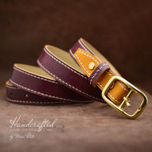 Load image into Gallery viewer, Handmade Burgundy Leather Belt with Yellow Mustard Insertion & Brass Buckle