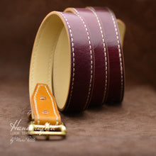 Load image into Gallery viewer, Custom made Burgundy Leather Belt with Yellow Mustard Insertion & Brass Buckle