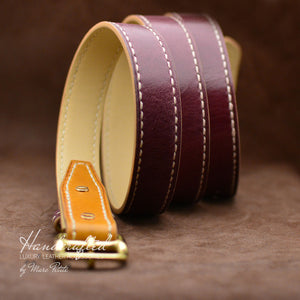 Custom made Burgundy Leather Belt with Yellow Mustard Insertion & Brass Buckle