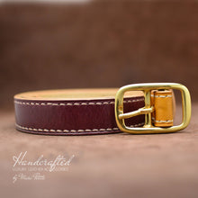 Load image into Gallery viewer, Handcrafted Burgundy Leather Belt